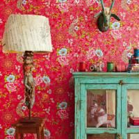 Wallpaper - The Paper Room - Flowers in the Mix Red