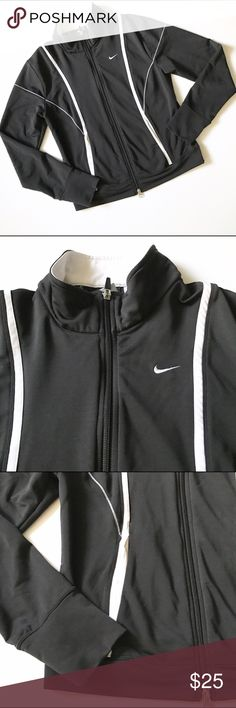 Nike Dri-Fit black/white stretchy athletic jacket Gently used in very good condition. Has side pockets. Fits small or a smaller medium Nike Jackets & Coats