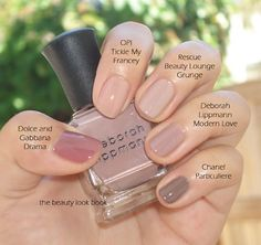 "Nudes. I always have a hard time figuring out the perfect nude. I like the OPI ""Tickle my Fancy"" though."
