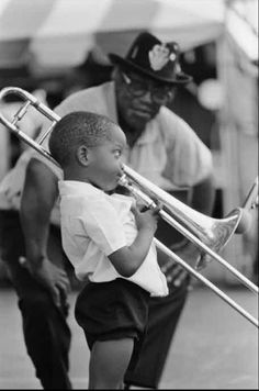 """New Orleans native, Troy """"Trombone Shorty"""" Andrews, at the age of 4 with legendery artist Bo Diddley."""