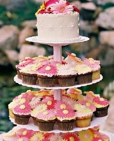 @Brenda Myers Wittman  i like this idea but just the top cake part....the flowers on each cupcake is a little excessive. :-P Could even use real flowers for the regular cake