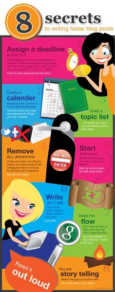8 Secrets to Writing Faster Blog Posts! #infographic
