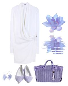 """Blue and Cream Striped Shoes"" by lovetodrinktea ❤ liked on Polyvore featuring Helmut Lang, Chanel and Furla"