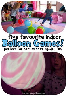 Learn with Play at Home: 5 fun indoor balloon games. Great games for keeping kids active and focused with low impact, low cost objects. Good for small groups and pairs.
