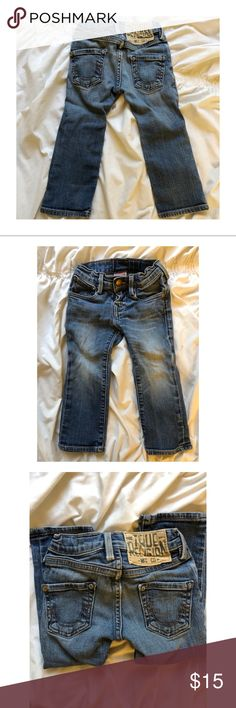 True religion baby jeans Jeans for your stylish little by true religion. Size 2, adjustable waist band. Missing rivets on back pockets. Not noticeable. True Religion Bottoms Jeans