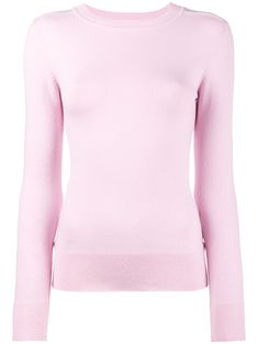 1b5f995c33fa56 Wild rose pink stretch cotton-silk blend Pink ribbed high neck sweater from  JoosTricot featuring long sleeves