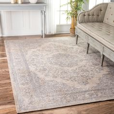 nuLOOM Traditional Medallion Border Grey Rug (6' x 9') - Free Shipping Today - Overstock.com - 20045950 - Mobile