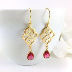 Ruby Earrings Gold Filigree Chandelier Earrings Ruby Teardrop Earrings by BlingNiks