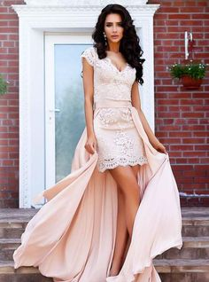 Simple Sheath Mini Party Gowns Coral Lace Cocktail Dresses with Over Skirt