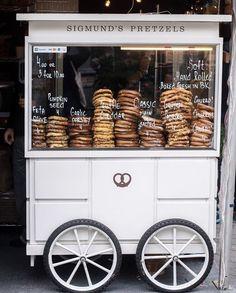 mod.hepburn@gmail.com Food Cart Design, Food Truck Design, Coffee Carts, Coffee Truck, Pretzels, Mobile Food Cart, Deco Restaurant, Food Stands, Food Trailer