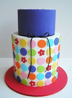 YES! tall cake with polka dots and cute flowers, so cute!