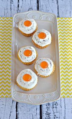 "Bacon Cupcakes topped with sweet Buttercream frosting and a butterscotch ""egg yolk"" #SundaySupper"