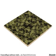 Camouflage military style pattern wood coaster