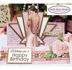 Debbie Moore Art Deco Celebrate In Style Card - CreateAndCraft