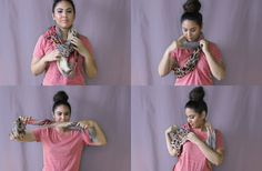 Have been trying to figure out different ways to wear an infinity scarf! There are a few good ones here How To Wear An Infinity Scarf 20 Different Gorgeous Looking Ways Diy Fashion, Fashion Beauty, Fall Fashion, How To Wear Scarves, Wearing Scarves, Scarf Top, Sweater Hat, Sweater Making, Beauty Hacks