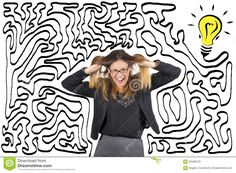 Confusion And Stress. Maze And Bulb. Reach The Solution. Business Woman Stressed Pulling Her Hair. - Download From Over 39 Million High Quality Stock Photos, Images, Vectors. Sign up for FREE today. Image: 59486070