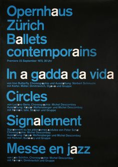 Ballets contemporains — In a gadda da vida, Circles, Signalement, Messe en jazz