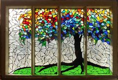 Mosaic Stained Glass - Roots by Catherine Van Der Woerd - Mosaic Stained Glass - Roots Glass Art - Mosaic Stained Glass - Roots Fine Art Prints and Posters for Sale Stained Glass Designs, Stained Glass Projects, Stained Glass Art, Fused Glass, Blown Glass, Mosaic Designs, Mosaic Glass Art, Glass Vase, Mosaic Garden Art