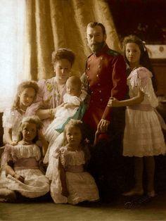 The Romanov Family, Nicholas II, Alexandra, the children, Olga, Tatiana, Maria, Anastasia and Alexei as an infant.