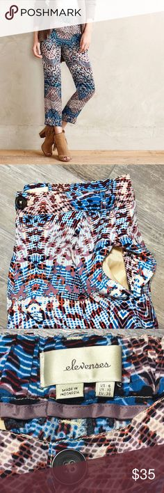 """Elevenses {Anthropologie} """"Lanikai"""" Tailored Pants Elevenses {Anthropologie} Colorful, abstract patterned, tailored pants. Light weight & perfect to pair with a long cardigan or coat for Fall! In good pre-loved condition. Approx 24in Inseam, 11 Rise, 19in Hip, 28in Waist, 6in Hem. No trades or modeling, offers always welcomed. Anthropologie Pants Ankle & Cropped"""