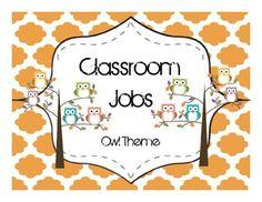 Classroom Jobs- Owl Theme- FREE!!!