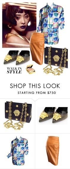 """""""A nod to Versace of the past"""" by fl4u on Polyvore featuring Versace, JEM, Elizabeth Arden, 90s, 80s and gianniversace"""