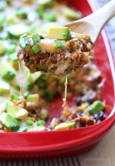 Quinoa Fiesta Enchilada Bake | Made with Caitlin and Scott! This was so good! Used chopped serranos instead of green chiles, worked out fine :] (GF)