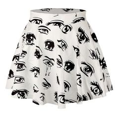 White Eyes Printed Slimming Chic Womens Pleated Skirt ($7.79) ❤ liked on Polyvore featuring skirts, bottoms, faldas, spódnice, white, white skirt, slim skirt, white knee length skirt, white pleated skirt and pleated skirt