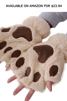 Women's Half Finger Gloves Cat Paws Plush Solid Color Cute Winter Casual Warm Daily Fingerless Mitten Guante Z Gloves Size One Size Color A Fingerless Mittens, Knitted Gloves, Claw Gloves, Color Beige, Cat Paws, Leather Gloves, Lady, Sale Items, Arm Warmers