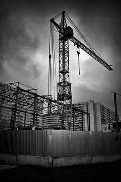 Crane Construction Elegant Structural Architecture Black And White Photo