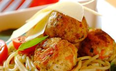 Herbed Chicken Meatballs on Spaghetti recipe   Poultry recipes   Whats For Dinner