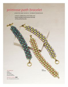 FREE Tutorial for PRIMROSE PATH Bracelet by Jennifer and Susan G. Scwartzenberger. Page 1 of 3