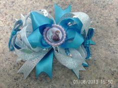 Frozen bow £5.00 from https://www.facebook.com/PrincessOliviasHairAccessories