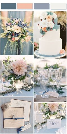 Top 7 Dusty Blue Wedding Color Combos for 2019 Dusty Blue and Peach wedding colors inspired This image has get. Gold Bridesmaid Dresses, Wedding Bridesmaids, Wedding Bouquets, Wedding Flowers, White Bouquets, Wedding Dresses, Bridesmaid Ideas, Bridesmaid Color, Blue Bouquet
