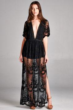 Deep V Crochet Lace Romper Maxi - Black Honey Punch Free Shipping! Women's Fashion Boutique Cruelty Free / Animal Free / Vegan Fashion www.shoptristin.com