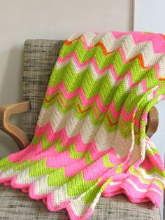 Lime green, pink, and white ripple afghan