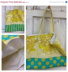 25 OFF WEEKEND SALE FlowersDotsand Stripes Tote by whimsiedots, $15.00