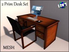 *Lok's* 2 Prim Desk Set - Mesh - Only TWO PRIMS!