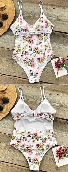 5c4b316ecd1d Idée et inspiration maillot de bain tendance 2017 Image Description 2018  Trending White Floral One Piece Swimsuits for Women