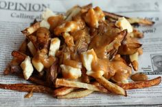 Vegetarian Poutine Recipe. Making this tonight except with mushroom gravy in place of veggie stock gravy.