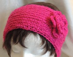 Hot Pink Knitted Headband With Crocheted Flower by AuldNouveau, $10.99