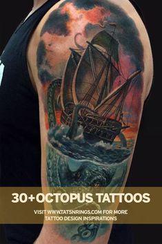 #octopus #octopustattoo #octopustattoodesign #tattoo #tattoodesigns #tattooideas Ship Tattoo Sleeves, Ocean Sleeve Tattoos, Octopus Tattoo Sleeve, Octopus Tattoo Design, Tattoo Designs, Ocean Tattoos, Octopus Tattoos, Body Art Tattoos, Cool Tattoos