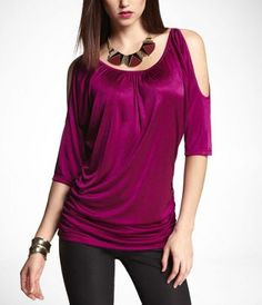 #Expressjeans HAMMERED JERSEY COLD SHOULDER TUNIC at Express