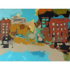 Milenko Katic', City Beach, 2014, Acrylic and Mixed Media on Canvas, 36x48, Kobalt Gallery, Provincetown, MA