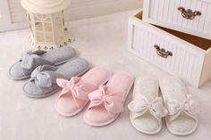 2016 spring and summer minimalist Japanese cloth cute ice cream color bows women slippers home floor slippers free shipping