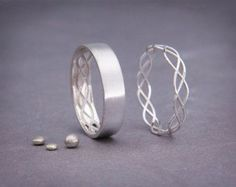 14K Rose Gold Celtic Wedding Rings Set Handmade by AverieJewelry