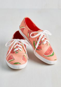 Fruits and Flatters Sneaker in Watermelon   Mod Retro Vintage Flats   ModCloth.com