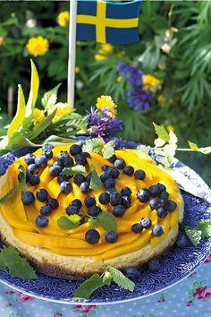 Mangocheesecake med blåbär Best Dessert Recipes, Fun Desserts, Bagan, Pause Café, Food Fantasy, Bread Cake, Sweets Cake, Chocolate Recipes, Afternoon Tea