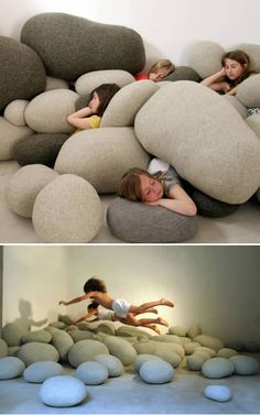 "rock pillows. ""When I was a kid, our basement was all pillows, blankets and matresses. Me and my brothers would play for hours. Great memories, and ones I want my kids to have"""