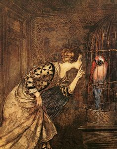 Arthur Rackham - Mary Colven and the Parrot ~ from Some British Ballads ~ Constable & Co. ~ 1919
